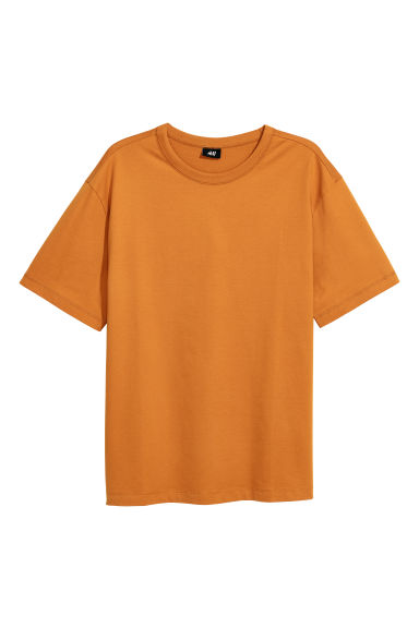 Sturdy cotton jersey T-shirt - Ochre - Men | H&M IE