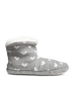 Knitted slippers - Grey/Hearts - Kids | H&M CN 1