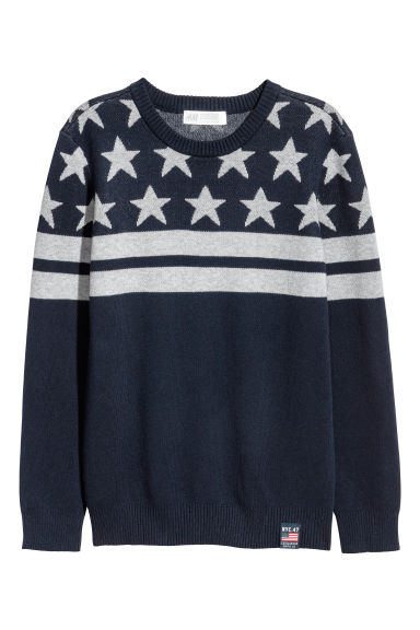 Jacquard-knit jumper - Dark blue/Stars - Kids | H&M CN