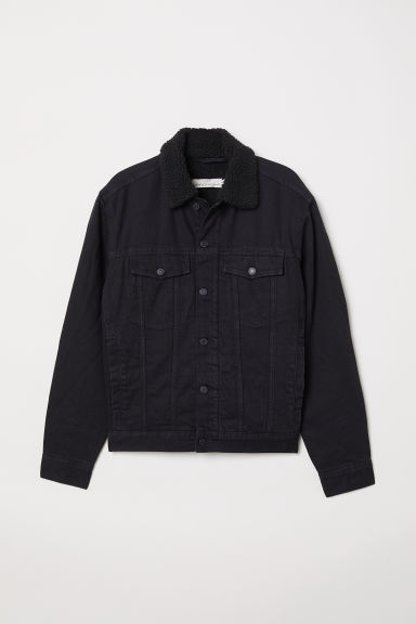 Pile-lined denim jacket - Black - Men | H&M