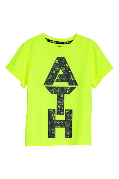 Short-sleeved sports top - Neon yellow - Kids | H&M CN
