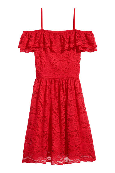 Off-the-shoulder lace dress - Bright red - Ladies | H&M