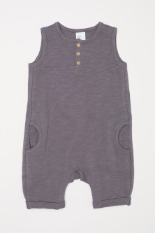 Sleeveless cotton romper suit