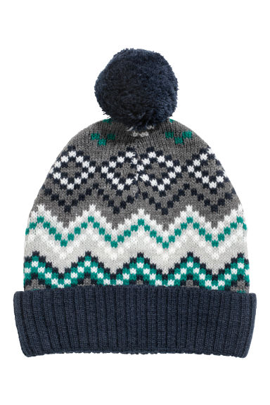 Jacquard-knit hat - Dark blue - Kids | H&M IE