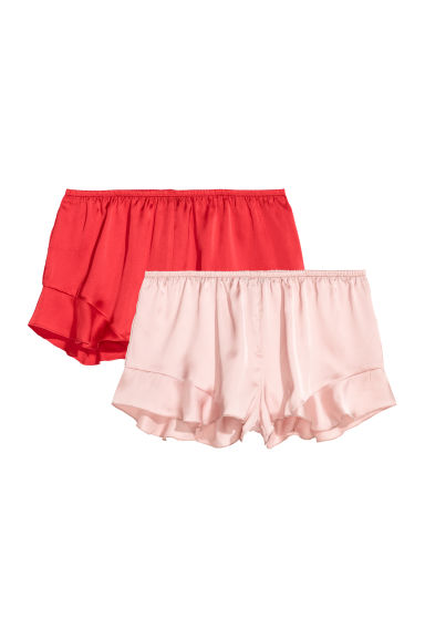 2-pack satin shorts - Red/Pink - Ladies | H&M CN