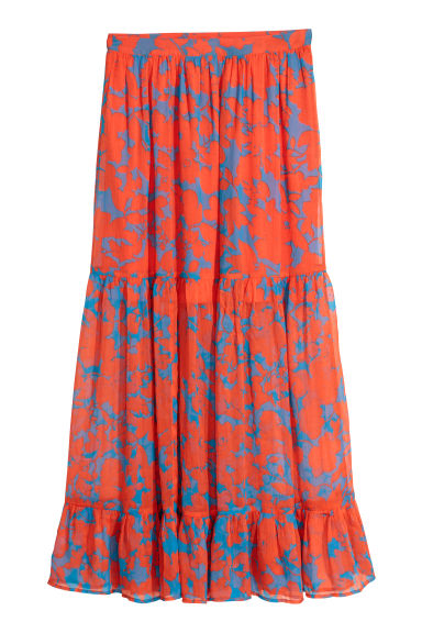 Calf-length skirt - Orange/Blue patterned - Ladies | H&M