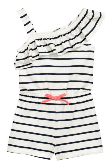 Jersey playsuit - White/Blue striped - Kids | H&M CN