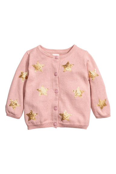 Sequined cotton cardigan - Powder pink/Stars - Kids | H&M CN