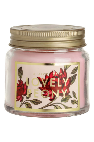 Scented candle in glass holder - Pink/Lovely Peony -  | H&M GB