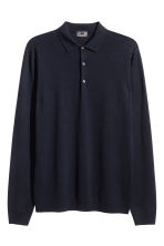 Merino wool polo shirt - Dark blue - Men | H&M 1
