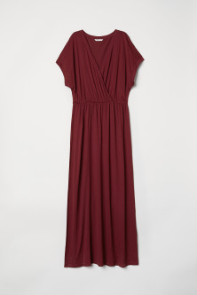 Long wrapover-front dress