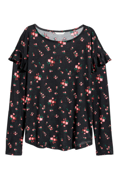 Long-sleeved flounced top - Black/Floral -  | H&M