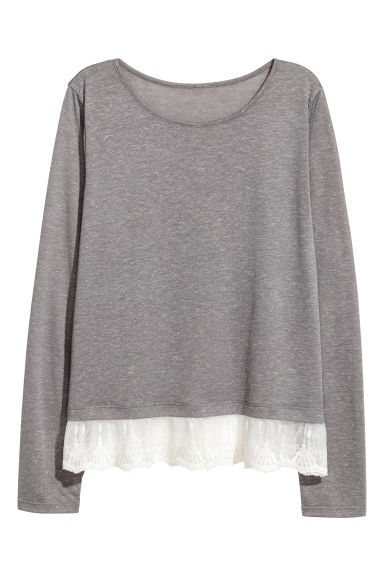 Lace-hem top - Dark grey -  | H&M IE