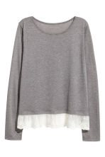 Lace-hem top - Dark grey - Ladies | H&M CN 2