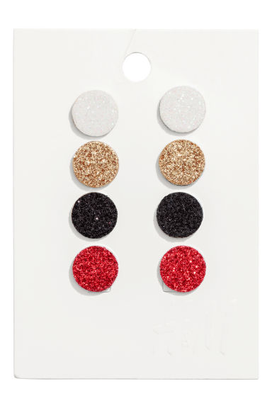 4 pairs earrings - Red/Gold-coloured - Ladies | H&M