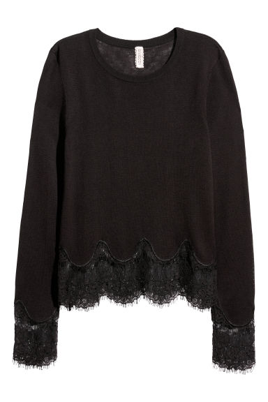 Jumper with lace details - Black - Ladies | H&M