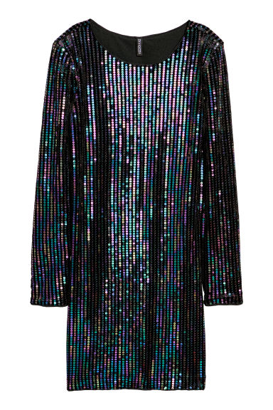 Sequined velour dress - Black/Multicoloured - Ladies | H&M