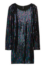 Sequined velour dress - Black/Multicoloured - Ladies | H&M 2