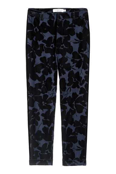 Patterned cigarette trousers - Dark blue/Black patterned - Ladies | H&M CN