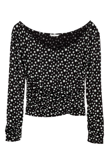 Draped jersey top - Black/Floral -  | H&M