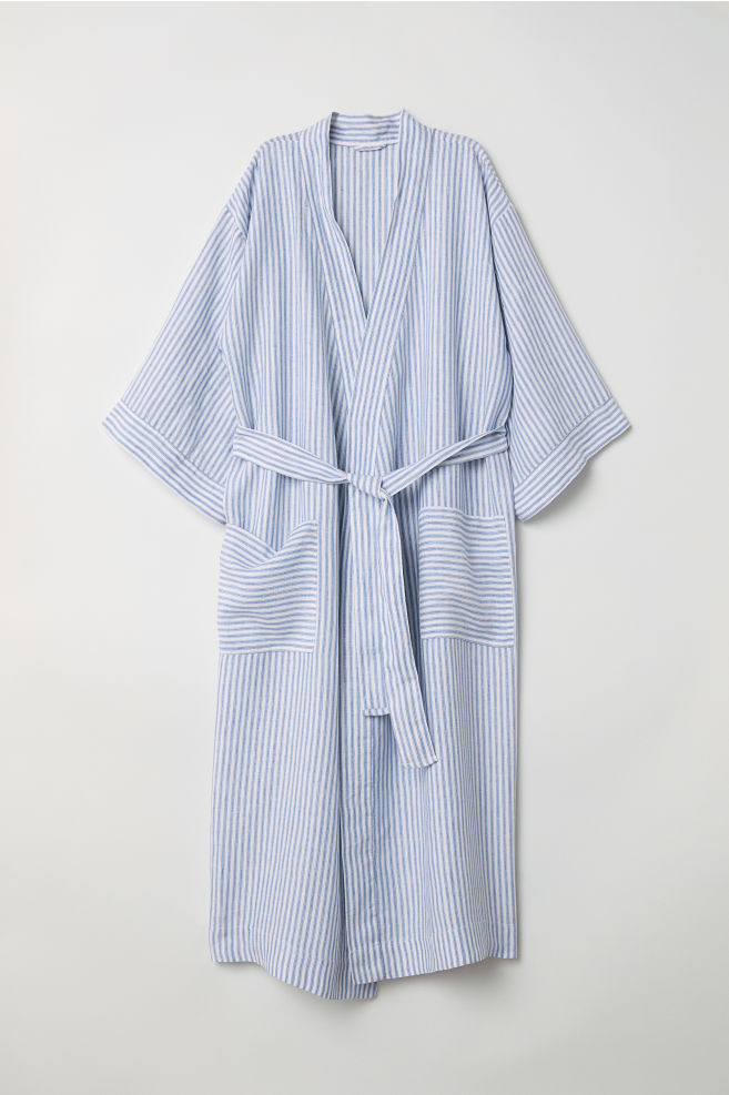 Linen dressing gown - Blue/White striped - Ladies | H&M IN
