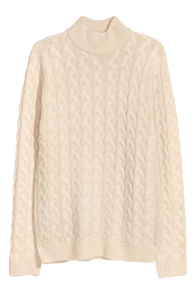 Cable-knit jumper - Light beige -  | H&M CN