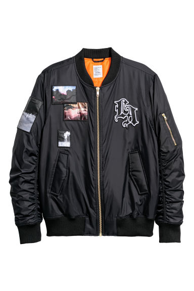 Bomber jacket with appliqués - Black -  | H&M IE