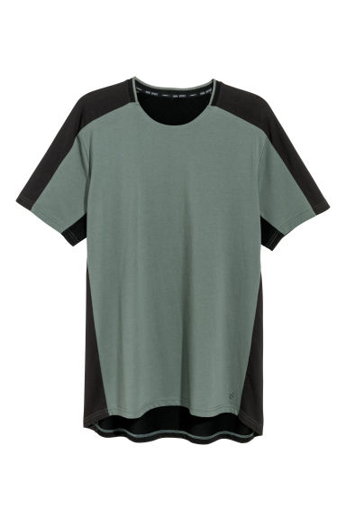 Short-sleeved sports top - Khaki green/Black -  | H&M