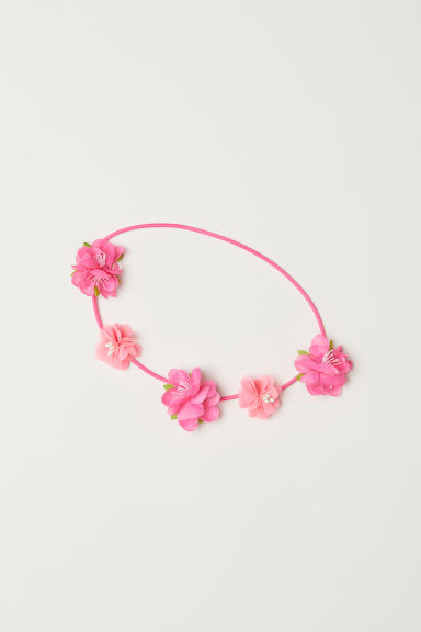 Hairband with flowers - Neon pink/Flowers - Kids | H&M CN