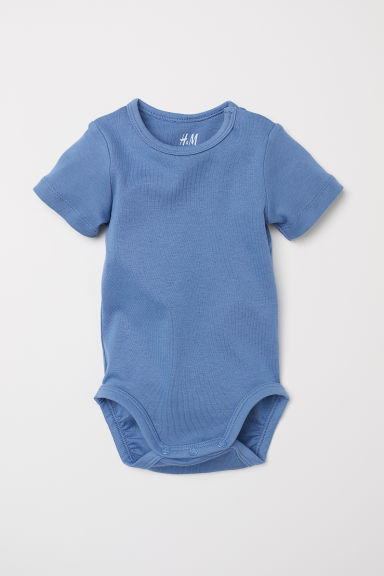Puff-sleeved bodysuit - Pigeon blue - Kids | H&M CN