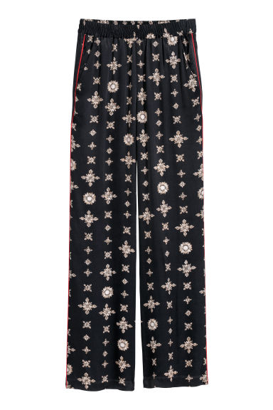 Wide pull-on trousers - Dark blue/Patterned - Ladies | H&M
