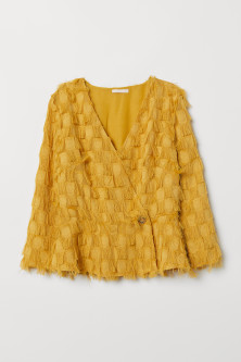Wrapover blouse with fringes