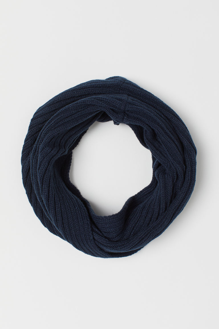 Knitted tube scarf - Dark blue - Kids | H&M GB