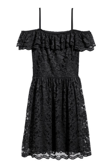 Off-the-shoulder lace dress - Black - Ladies | H&M IE