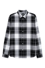 Flannel shirt Regular fit - Black/White - Men | H&M GB 2