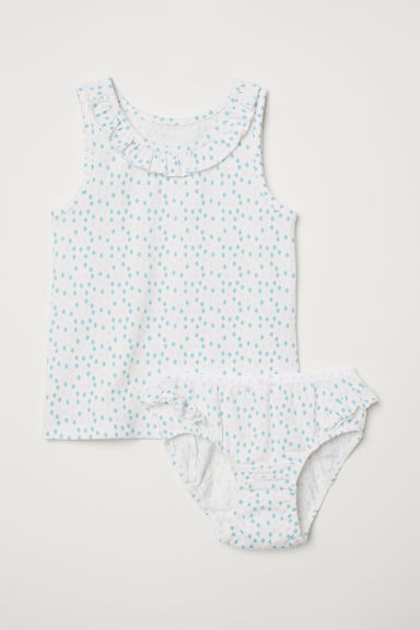 Vest top and briefs - Natural white/Patterned - Kids | H&M CN