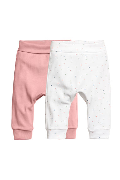 2-pack jersey trousers - Powder pink/Spots - Kids | H&M