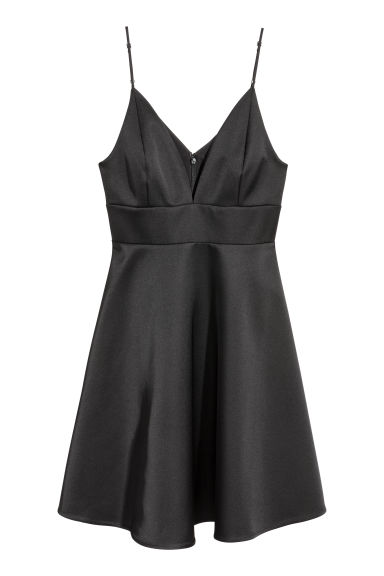 Satin dress - Black -  | H&M