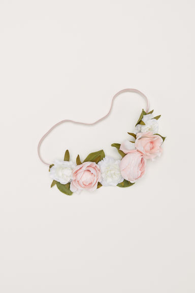 Hairband with flowers - Powder pink/White - Ladies | H&M