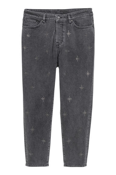 H&M+ Vintage High Ankle Jeans - Black/Sparkly stones - Ladies | H&M