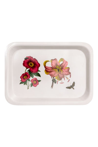 Small tray - White/Flowers - Home All | H&M IE