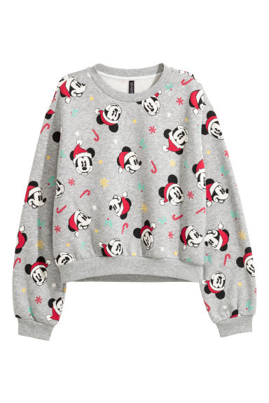 Printed sweatshirt - Grey marl/Mickey Mouse -  | H&M