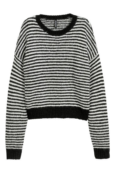 Striped jumper - Black/White striped - Ladies | H&M