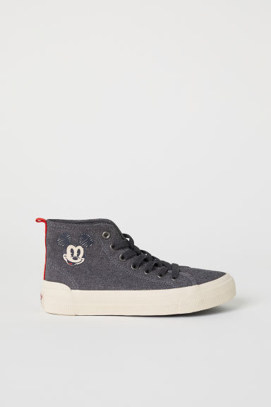 Hi-top trainers - Dark grey/Mickey Mouse - Kids | H&M CN