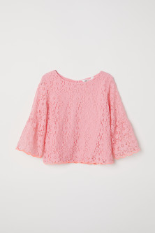 Trumpet-sleeved lace blouse