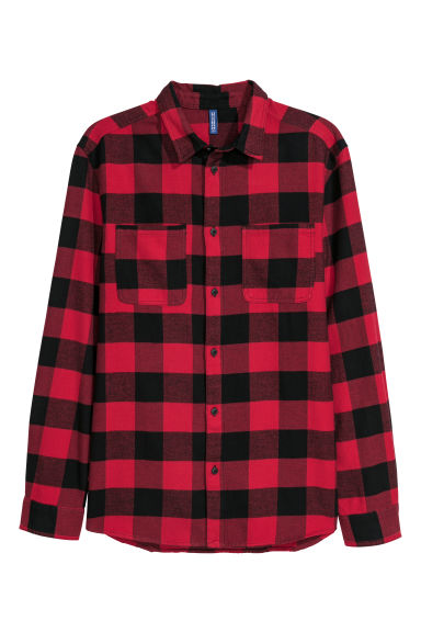 Flannel shirt - Red/Black checked -  | H&M