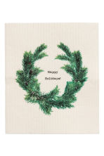 Christmas-motif dishcloth - Natural white/Pine needles - Home All | H&M CN 1