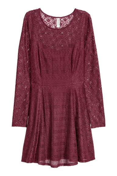 Lace dress - Burgundy -  | H&M