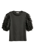 Top with mesh frills - Black - Ladies | H&M 2