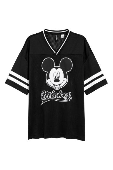 Mesh T-shirt - Black/Mickey Mouse -  | H&M IE